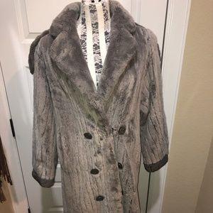 Jackets & Blazers - Gray Sheared Rabbit Long Double Breasted Coat